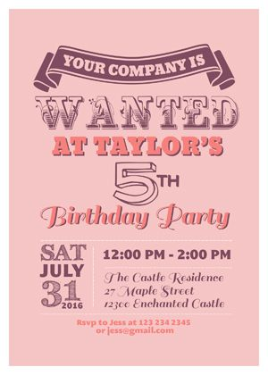 Birthday Invitation with Western Classic Theme