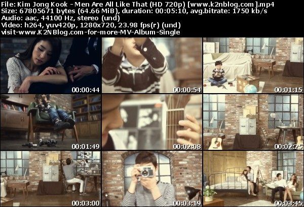 [MV] Kim Jong Kook - Men Are All Like That (HD 720p Youtube)