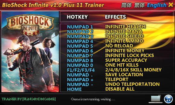 BIOSHOCK INFINITE +11 TRAINER [FLING]