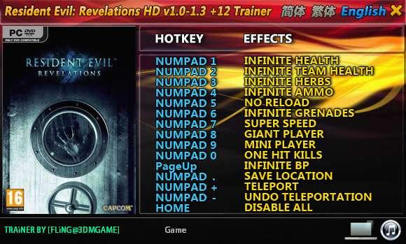 Resident Evil: Revelations HD 1.0-Update 3 +11 Trainer [FliNG]