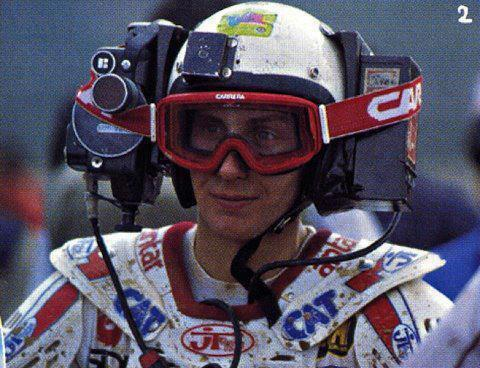 Jacky Vimond with a big camera attached on his helmet