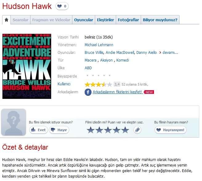 Hudson Hawk - 1991 Türkçe Dublaj 480p BRRip Tek Link indir